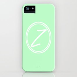 Monogram - Letter Z on Mint Green Background iPhone Case