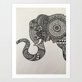 Zentangle Elephant Art Print