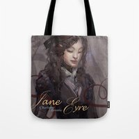 jane eyre Tote Bags featuring Jane Eyre by Alicia Froelicher