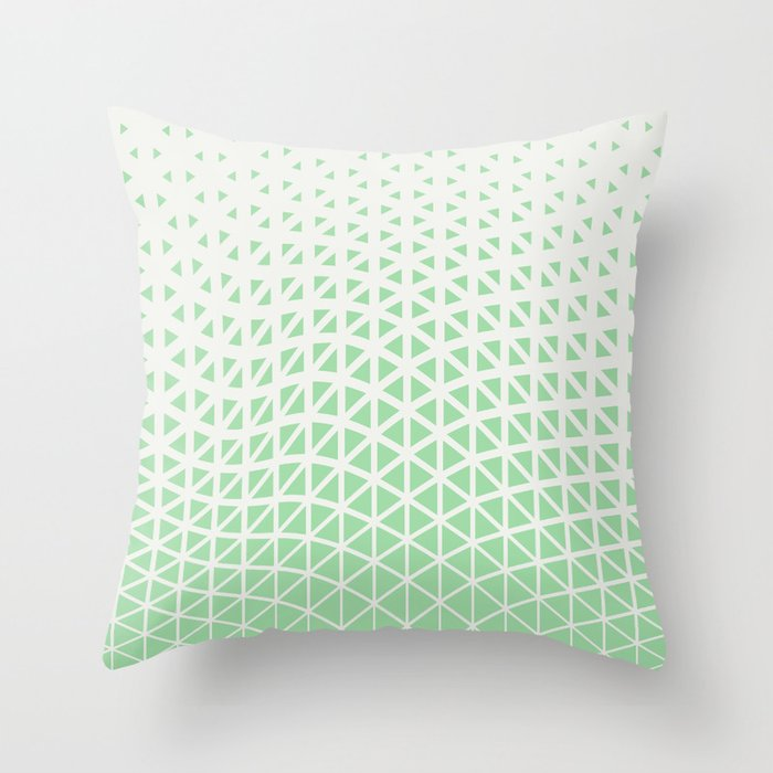 Pastel Green & Linen White Geometric Triangle Gradient Wave Pattern 2020 Color of the Year Neo Mint Throw Pillow