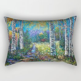 Nocturne Blue - Palette Knife by OLena Art  Rectangular Pillow