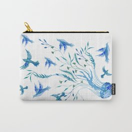 Jellyfish and Birds Abstract Ocean Carry-All Pouch