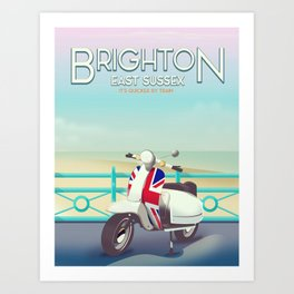 Brighton Union Scooter travel poster, Art Print