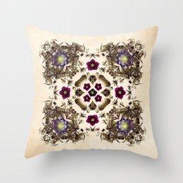 Hellebore and Nightshade Mandala Pattern Throw Pillow