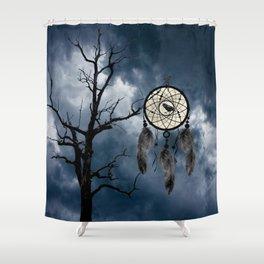 Black Bird Crow Tree Dream Catcher Night Moon A082 Shower Curtain