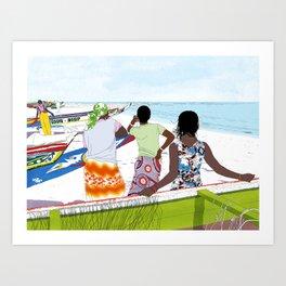 Women on the beach Art Print