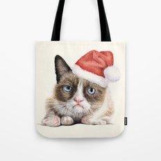 Grumpy Santa Cat Tote Bag