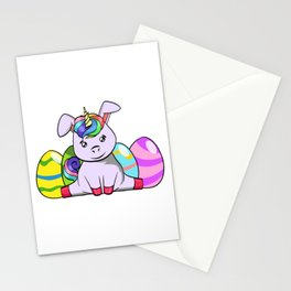 """Cool Unicorn Shirt For Mommies """"Happy Easter"""" T-shirt Design Palm Rabbit Jump Eggs Easter Stationery Cards"""