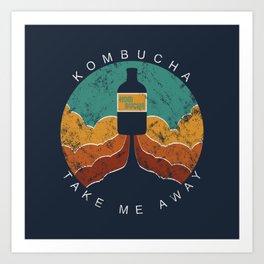 "KOMBUCHA ""Take Me Away"" Rocket // Mushroom Tea Graphic Design Scoby Health Drink Bubble Scooby Art Print"