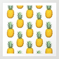 pinapple Art Prints featuring Big Pineapples by CumulusFactory
