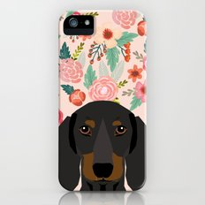 Dachshund florals cute pet gifts black and tan dachshund gifts for dog lover with weener dog Slim Case iPhone SE