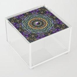 Purple Yin Yang Sacred Geometry Fractals Acrylic Box