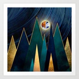 Metallic Peaks Art Print
