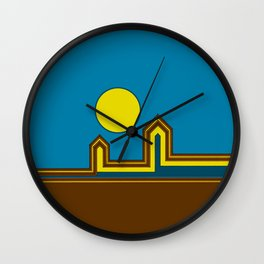 Line Houses with Yellow Sun Wall Clock