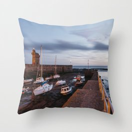 Boats in Lynmouth Harbour at dawn twilight. Devon, UK. Throw Pillow