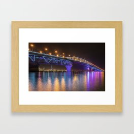 Auckland Harbour Bridge light show 2 Framed Art Print