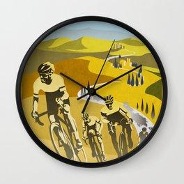 Strade Bianche retro cycling classic art Wall Clock