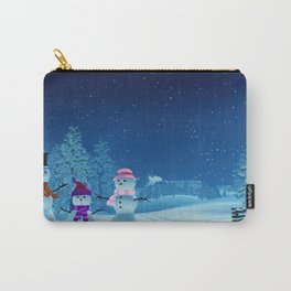 Snowman family in a moonlit winter landscape at night Carry-All Pouch