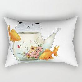 Flowering Tea in a Cat Teapot Rectangular Pillow