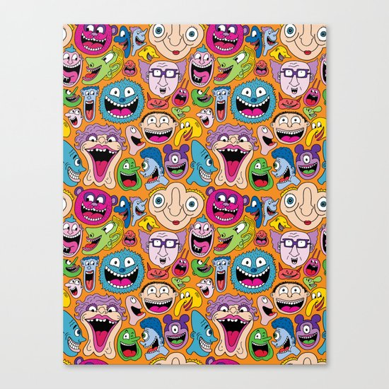 Creepy Smiles Pattern Canvas Print