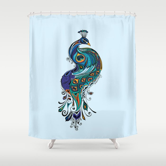 Peacock Shower Curtain by greengirlcanvas