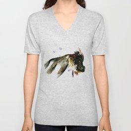 Black Moor, fish art, design cute black fish Unisex V-Neck