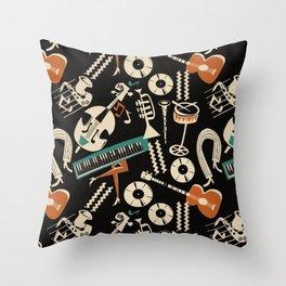 Jazz Rhythm (negative) Throw Pillow