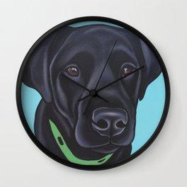 Black Lab on Blue Background Wall Clock