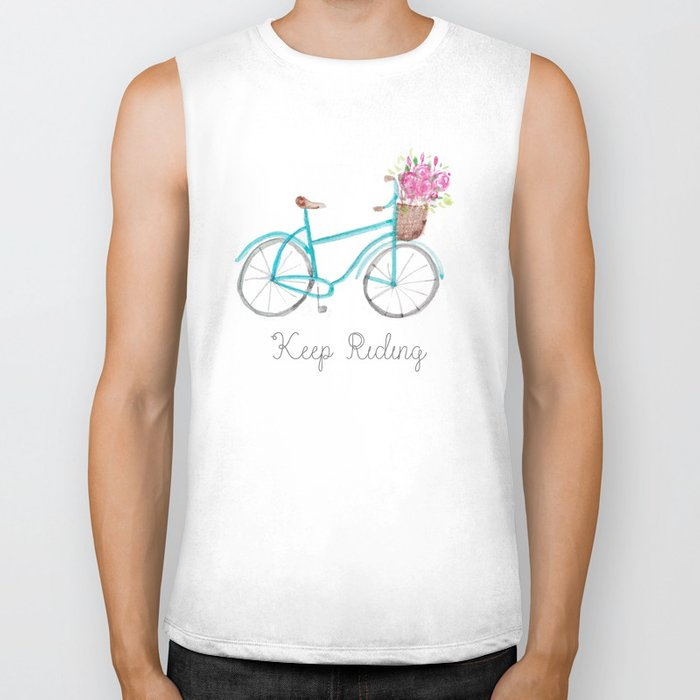 Keep Riding Bike, Watercolor Bike Biker Tank