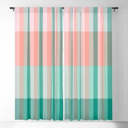 Soft Pink Peach Amber Yucca and Arbor Green Transluscent Stripes Blackout Curtain