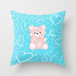 Patched Teddy Love Throw Pillow