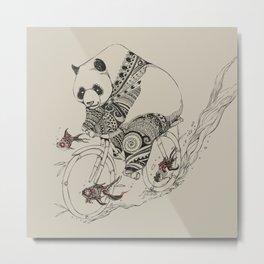 Panda and Follow Fish Metal Print