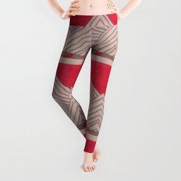 Red and Grey Deco Geometric print Leggings