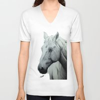 horse V-neck T-shirts featuring Horse by Devon