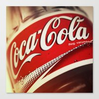 coca cola Canvas Prints featuring Coca-Cola by BeccAi