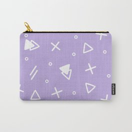Pale Violet And White - Memphis Pattern Carry-All Pouch