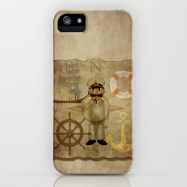 Captain, ship, rudder, anchor, lifebelt, map, compass, old map, messy, messy map iPhone Case