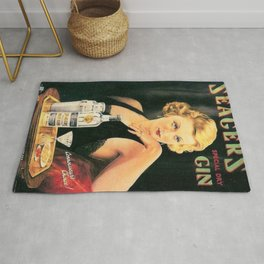 Seagers Special Dry Gin Alcoholic Cocktails Vintage Advertisement Poster Rug