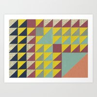 Vintage Quilted Triangles  Art Print