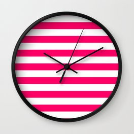 Bright Fluorescent Pink Neon and White Large Horizontal Cabana Tent Stripe Wall Clock