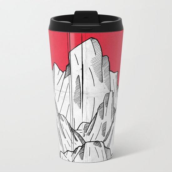The red sun and the mountains Metal Travel Mug