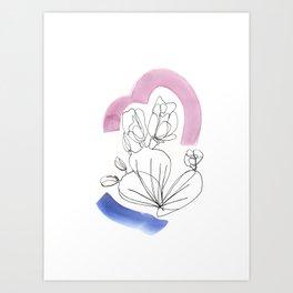 Contour Line Cactus 4 Art Print