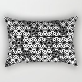 Japanese Asanoha or Star Pattern, Black and White Rectangular Pillow