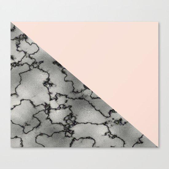 Peach and silver marble metallic Canvas Print