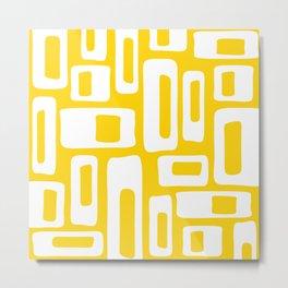Retro Mid Century Modern Abstract Pattern 335 Yellow Metal Print