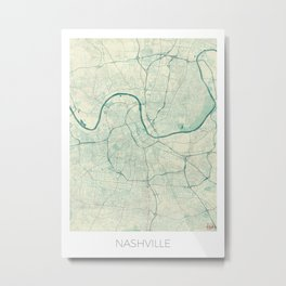 Nashville Map Blue Vintage Metal Print