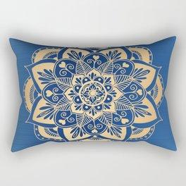 Blue and Gold Flower Mandala Rectangular Pillow