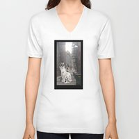 pittsburgh V-neck T-shirts featuring Pittsburgh Lurkers by Christine Eglantine