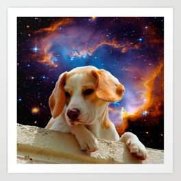 beagle puppy on the wall looking at the universe Art Print