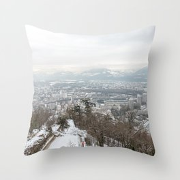 Landscape view of Grenoble after taking the bastille cable car Throw Pillow